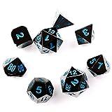 Hexblade Gaming Dados poliédricos de Metal para Juegos de rol. Set de 8 Dados Jugar a Dungeons & Dragons (D&D) Acabado en níquel Negro con los números en azúl eléctrico