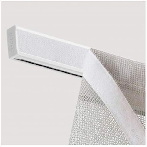 Byour3®️ Barras aluminio para cortinas con velcro – Barra portavisillos de velcro ajustable + soportes + peso plano para cortina para puerta ventana con perfil de riel (Blanco RAL, 100 cm)