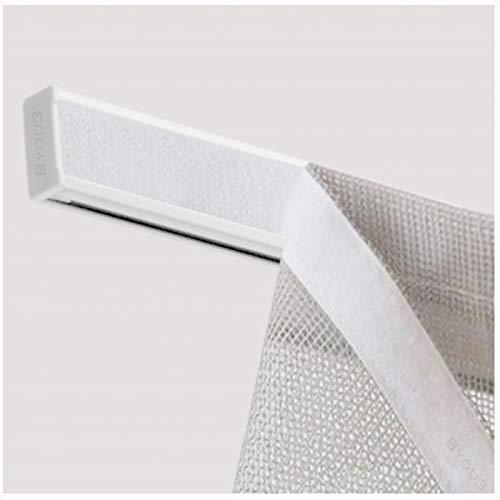 Barra para cortina de panel con velcro – Barra de velcro ajustable + soportes + peso plano para cortinas de puerta ventana con perfil de riel de velcro de aluminio (blanco RAL, 60 cm)