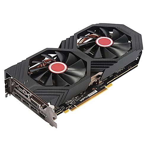 Fit for Tarjetas gráficas XFX RX 580 8GB AMD Radeon RX580 8GB 2304SP Tarjetas de Pantalla de Video GPU Computadora de Escritorio Juego Mapa Tarjeta de Video PUBG