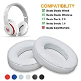 Parzo Ear Cushions for Beats - Upgraded Earpads Compatible with Beats Studio Wired B0500 / Wireless B0501 / Studio 2.0 and Studio 3.0 Over Ear Headphones ONLY (Studio White)