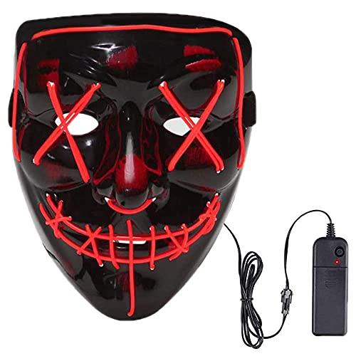Foneso Halloween LED Maschera, LED Illumina la Maschere,per Halloween Cosplay Feste del Partito Halloween Costumi, Maschera Smorfia Alimentato, Halloween Accessori (Rosso)