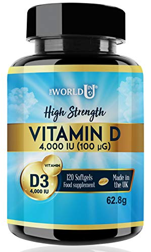 Vitamin D3 4000IU Softgels Rapid Absorption Vitamin D for Maintaining Normal Bones and Teeth, Muscle Function and Immune System. Made in The UK. Non-GMO. Gluten and Dairy Free.