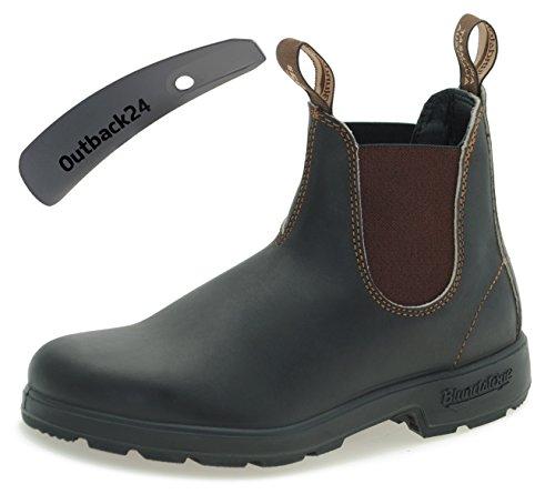 Blundstone Style 500 Classic Chelsea Boots Unisex Stiefelette - Stout Brown + Schuhlöffel (UK 09.0 / EU 43.0)