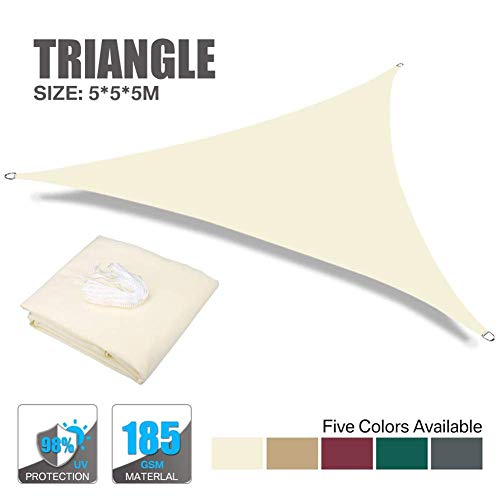 Garden Sun Shade Sail Triangle 5X5X5M 98% UV Block Water Resistant Sunscreen Canopy Awning with Rope for Outdoor Patio Garden, Beige, 5X5X5M