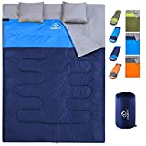 oaskys Camping Sleeping Bag - 3 Season Warm & Cool Weather - Summer, Spring, Fall, Lightweight, Waterproof for Adults & Kids - Camping Gear Equipment, Traveling, and Outdoors (Double Navy Blue)