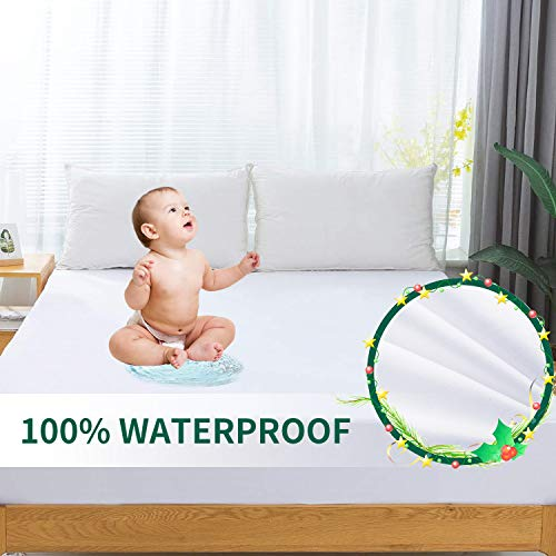 SLEEP ACADEMY Waterproof Mattress Protector Twin Size, Hypoallergenic Breathable Mattress Pad Cover - Vinyl Free