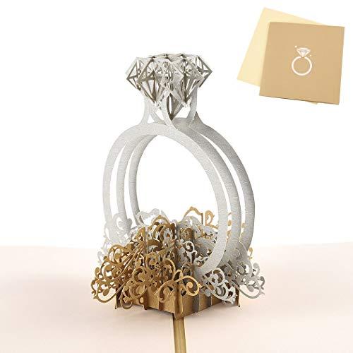 Sethexy 3D día de San Valentín Tarjetas de felicitación Tarjeta de compromiso Invitación de boda Hecho a mano Surgir anillo Regalo de cumpleaños para Novia Novio Esposa