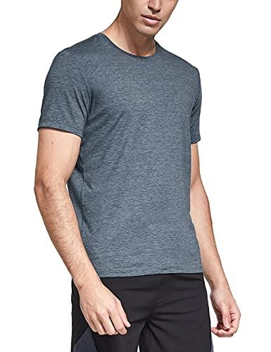 BALEAF Men's Cotton Stretch Workout Shirts Short-Sleeve Running Gym Tops Quick Dry Heather Blue L