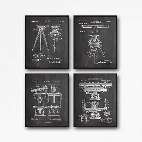 Surveyor Print, poster di edilizia per geometri di territorio, stampa edilizia murale, edifici di transito WB228-WB237 (16,5 x 23,4 (A2), lavagna nera)