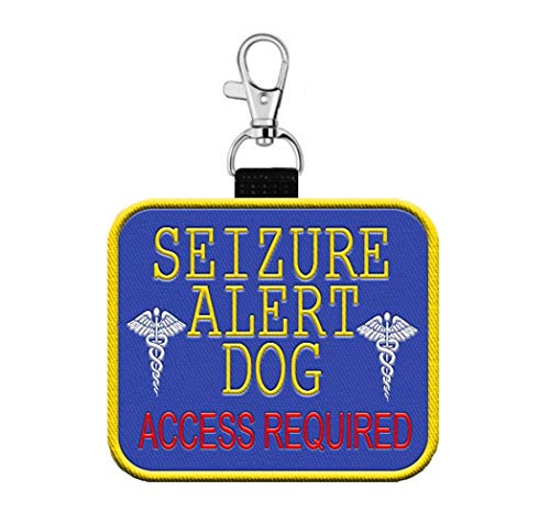 WORKINGSERVICEDOG.COM Seizure Alert Dog - Access Required Clip on Identification Hanging Patch Tag – Clips onto a Service Dog Vest, Harness, Collar, Leash or Carrier
