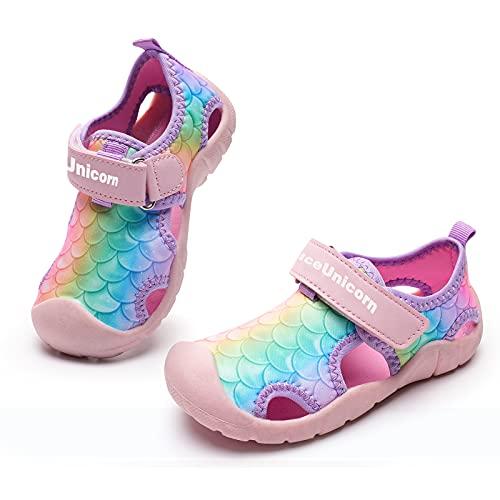 Sandalen Hallenschuhe Kinder Jungen Mädchen Hausschuhe Sportschuhe Freizeitschuhe Badeschuhe Laufschuhe Kleinkinder(Fischschuppen rosa, 30EU)
