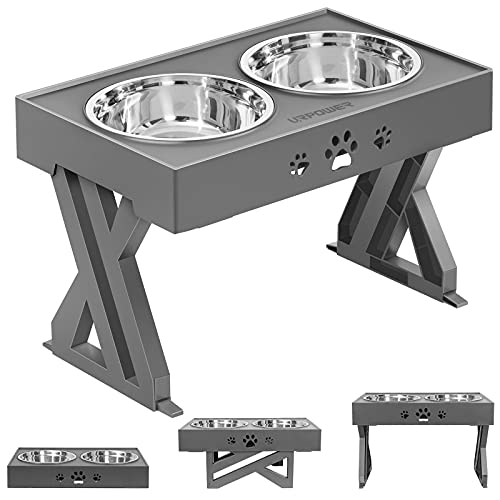 URPOWER Elevated Dog Bowls Adjustable Raised Dog Bowl with 2 Stainless Steel 1.5L Dog Food Bowls...