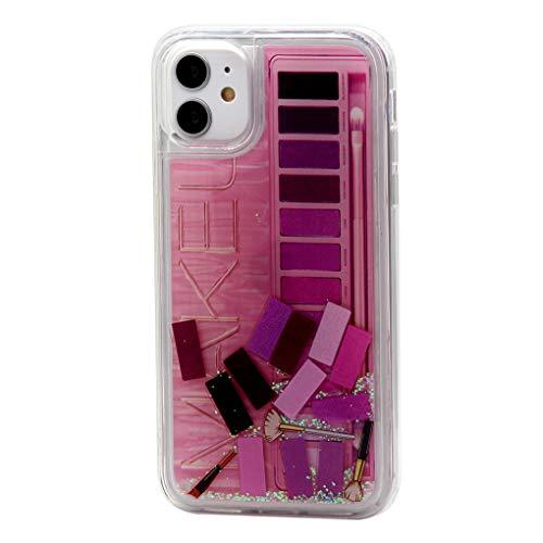 Keyihan iPhone Hoesje voor Meisjes Mode Make-up Oogschaduw Pallete Patroon Vloeiende Bling Quicksand Pailletten Glitter Vloeibare Hard Cover Zachte Bumper voor iPhone, Bumper Hoes, iPhone XR, roze