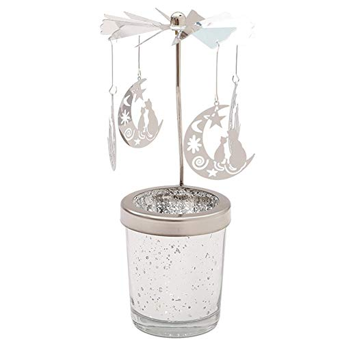 Evaner Rotating Tea Light Holder Rotating Metal Carousel with Moon Motif for Wedding Birthday Party Christmas Decoration 18 × 4.7 cm Silver