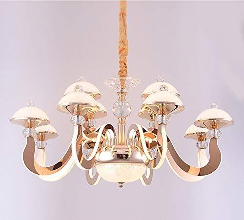 Warme lamp kroonluchter LED dimbaar moderne kroonluchter van kristal roestvrij staal 12 luxe hotels Villa kristal lichten restaurant art goud 12 koptelefoons aangenaam