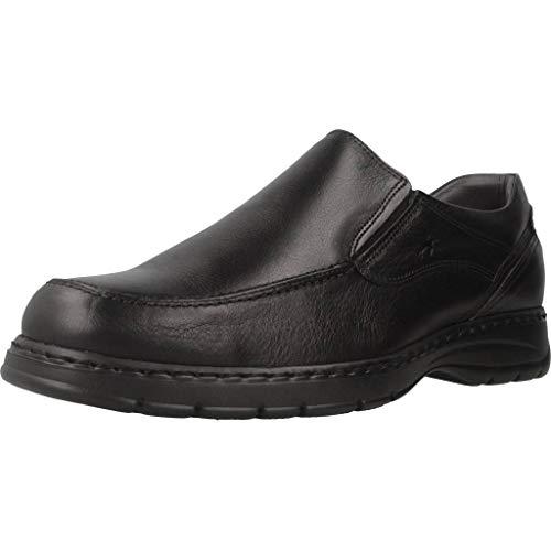 Fluchos | Mocasín de Hombre | CRONO 9144 Salvate Negro Zapato Confort | Mocasín de Piel de Ternera engrasada de Primera Calidad | Cierre con Elásticos | Piso Personalizado Fluchos Light