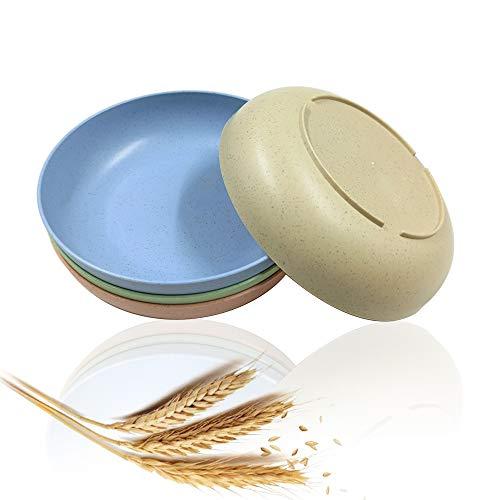 Lot de 4 assiettes en paille de blé incassables et légères pour bébés et enfants compatibles avec lave-vaisselle et micro-onde 14,3 cm, 4 couleurs
