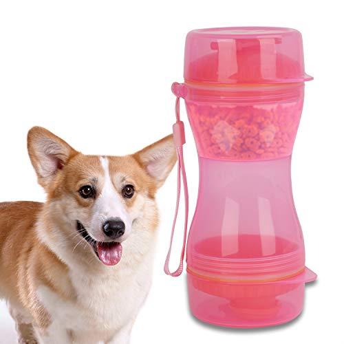 ペットウォーターボトル 携帯式 犬用ボトル 猫用ボトル ペット給水器 ペット給餌器 犬用水飲みボトル 猫用水飲みボトル ポータブル 一台両用 水・餌漏れ防止 散歩 旅行 ウォーキング ハイキング アウトドア ペット用品 ブルー/ピンク