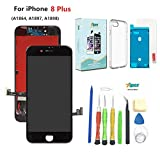 Compatible with iPhone 8 Plus Black (5.5''),LCD Display & Touch Screen Digitizer Frame Assembly Set with 3D Touch Free Waterproof Adhesive,Tempered Glass,Tools,Instruction,Free Cover (Black)