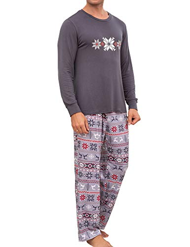 Ekouaer Christmas Pajamas Sets Mens Family Matching Holiday Sleepwear PJs Set(Grey, Medium)