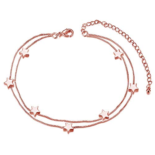 SHEGRACE Titanium Steel Double Layered Anklet with Mini Stars Rose Gold 200mm for Woman