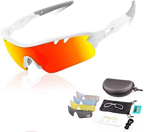 Gafas de sol polarizadas UV400, gafas deportivas, gafas de ciclismo anti-azul anti-UV con 5 lentes coloridas intercambiables para llevar la pesca de la pesca Trekking Skiing Vacation ( Color : White )