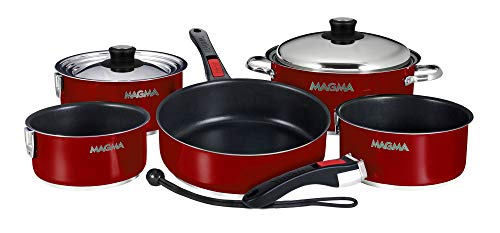 Magma Products Gourmet Nid 10 pièces colorées en Acier Inoxydable Batterie de Cuisine Induction avec Ceramica antiadhésif