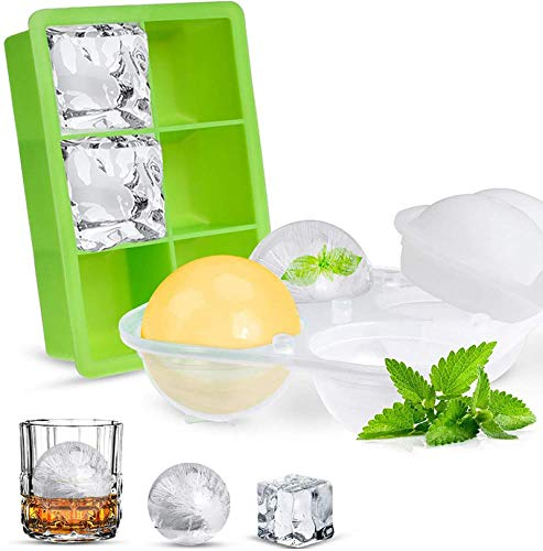 Opret Eiswürfelform Eiskugelform, Eiswürfelbehälter Silikon Eiswürfelformen Eiswürfel Form BPA Frei für Cocktails Saft Schokolade Süßigkeiten Whisky -2 Stück