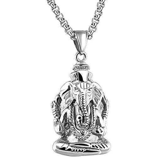 NC110 Vintage religioso Elefante tailandés Dios Buda Marca Collar Personalidad Transferencia Elefante Titanio Acero Colgante Hombres Personalidad artículo YUAHJIGE