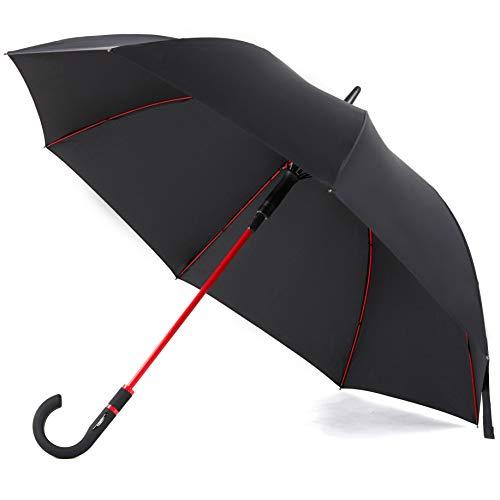 Paraguas a prueba de viento tamaño de viaje paraguas de lluvia unisex Auto abierto ligero impermeable Paraguas grande de palo para hombres y mujeres reforzado marco a prueba de viento a prueba de desl