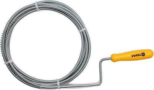 Vorel Rohrreinungsspirale | Größenwahl | Ø 5mm - 9mm | Länge: 1,5-10 m | mit Schneidfeder | flexible Spirale | Rohrreinigungswelle Abflussspirale Abflussreiniger (Ø 5mm | Länge 1,5m)