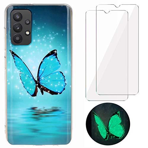 N\C YiKaDa - Cover Compatibile con Samsung Galaxy A32 5G (Non 4G) + [2 Pack] Pellicola Protettiva in Vetro Temperato, Custodia Luminosa Morbida in Silicone TPU - Glitter Farfalla