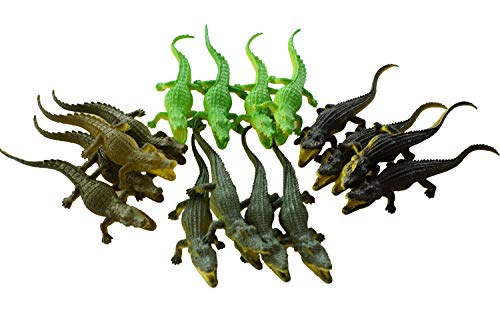 SENSORY4U Crocodile Toys 16 pcs 6 Inch Alligator Action Figure, Crocodile Hunter Action Figure, Crocodile Animal Toy - for Party Favors, Gifts, Prizes, Rewards, Assorted Colors