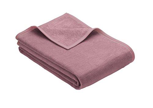 Ibena Porto Kuscheldecke 150x200 cm - Wolldecke rosa einfarbig, pflegeleichte Baumwollmischung, kuschelig weich und angenehm warm