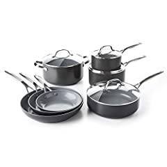 Set Includes: 8'', 9. 5'', 11'' frypans; 2QT & 3QT saucepans with lids; 3QT skillet with lid; 5QT casserole with lid Magneto Induction Base: Incredible searing and browning on all stovetops, including induction GreenPan's healthy ceramic nonstick coa...