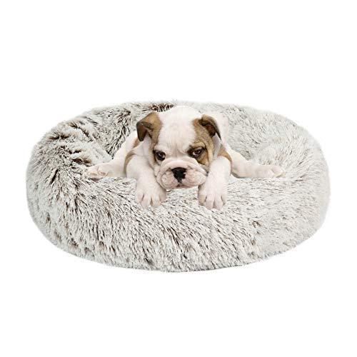 Calming Donut Hundebett, Kunstfell, Haustierbett, selbstwärmend, waschbar, rund, Haustierbett, Katzenbett, bequem, rund, Plüsch, für den Innenbereich, für kleine, mittelgroße Hunde, 58,4 cm, hellbraun