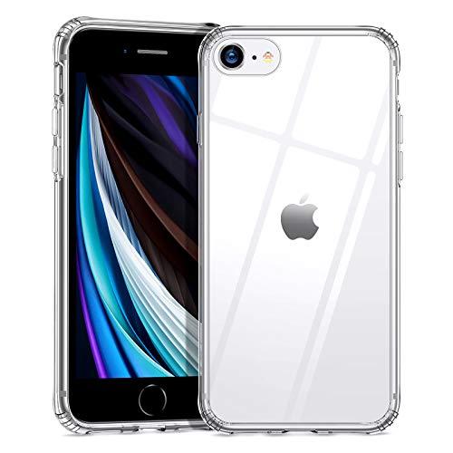 ESR Funda Compatible con iPhone SE 2020/8/7(4.7 Pulgadas),Anti-Amarilleo,Resistente Arañazos,Parte Posterior del Vidrio Templado 9H+ Borde de TPU,-Transparente