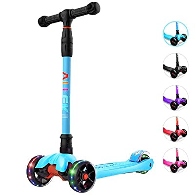Allek Kick Scooter B02, Lean 'N Glide Scooter with Extra Wide PU Light-Up Wheels and 4 Adjustable Heights for Children from 3-12yrs (Aqua Blue)