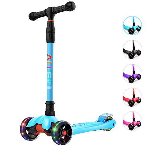 Allek Kick Scooter B02, Lean N Glide Scooter with Extra Wide PU Light-Up Wheels and 4 Adjustable Heights for Children from 3-12yrs (Aqua Blue)