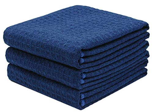 Mia'sDream Microfiber Waffle Weave Kitchen Towel Set Thick Washcloth Dish Cloth Kitchen Cleaning Tea Towel,3 Pack,16inch X 24inch, Navy Blue