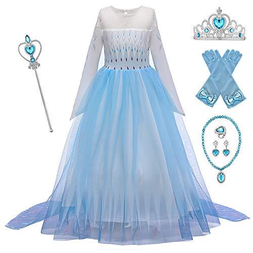 O.AMBW Vestido de Princesa con Capa Larga Falda Azul Violeta Disfraz de Frozen Cosplay de Princesa Disfraces de Carnaval con 6 Juegos de Accesorios Fiesta Halloween para Nias de 2 a 12 aos