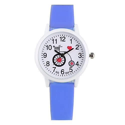 Mooie Cartoon Quartz Horloge voor Kind, Leuke fiets Patroon Wijzerplaat Horloges voor Kinderen, Klassieke Blauw Siliconen Band Quartz Horloge voor Kinderen
