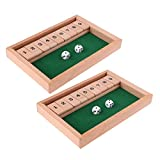2X Wooden Shut The Box 1-9 Number Board Game with Dice for Pub Bar Club Toy