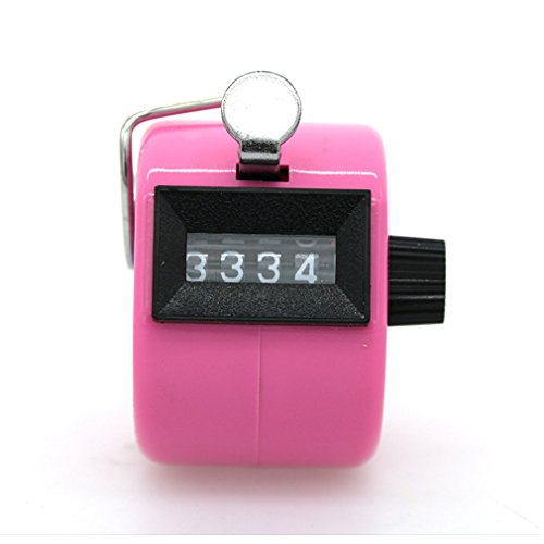 Accmart Manuelle Tally Counter 4 Digit Display Metall Mechanische Z?hler Rundenz?hler mit Fingerring Mechanische Palm Click Counter Pink f¨¹r Stadion, Casino und Spielst?nde von TheBigThumb