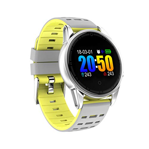 PartyKindom Reloj inteligente con cámara GPS Soporte Monitor de ritmo cardíaco Cronómetro Velocímetro Actividad Smartwatch para Android IOS Phone (Plata+Amarillo) para regalo