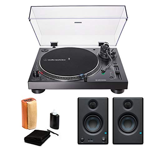 Audio-Technica AT-LP120XUSB USB Turntable Black with Presonus Eris 3.5 Monitors (Pair) and Knox Vinyl Record Cleaning Kit