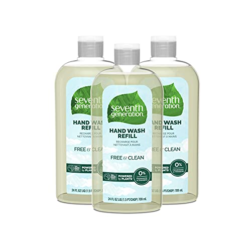 Seventh Generation Hand Soap Refill, Free & Clear Unscented, 24 oz, 3 Pack (Packaging May Vary)