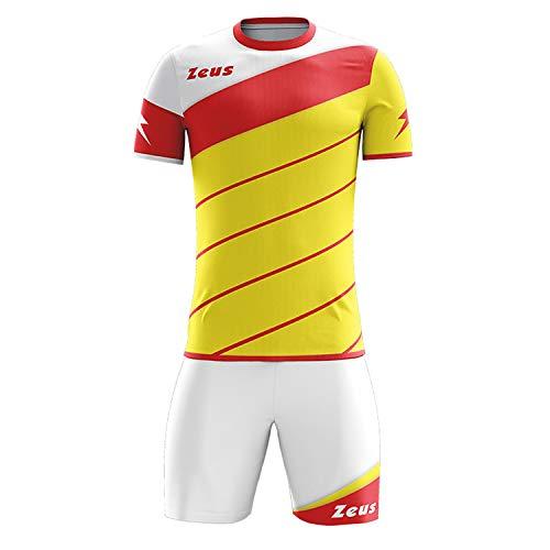 Zeus Kit Lybra Uomo Herren Kinder Trikot Shirt Hosen Klein Armel Kit Fußball Hallenfußball Gelb Rot Weiss (XXS)