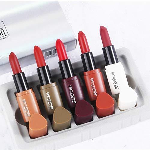 5 Farben Mini Matt Lippenstift Lipgloss Set, 5pcs Lippenstifte Matte Lipstick Dauerhaft und...